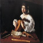 Michelangelo Merisi da Caravaggio, (1571 � 1610)  The Lute Player  Oil on canvas, 	c. 1596  100 cm × 126,5 cm  Wildenstein Collection