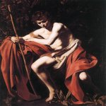 Michelangelo Merisi da Caravaggio, (1571 – 1610)  John the Baptist (John in the Wilderness)  Oil on canvas, 	c.1604  173 cm × 133 cm (68 in × 52 in)  Nelson-Atkins Museum of Art, Kansas City, United States