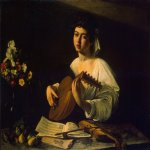 Michelangelo Merisi da Caravaggio, (1571  1610)  The Lute Player  Oil on canvas, c. 1600  94 cm &#215; 119 cm (37 in &#215; 47 in)  Hermitage Museum, Saint Petersburg, Russia