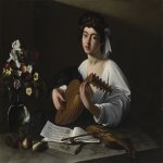 Michelangelo Merisi da Caravaggio, (1571 – 1610)  The Lute Player  Oil on canvas, 	c.1596  96 cm × 121 cm (38 in × 48 in)  Ex-Badminton House, Gloucestershire, England