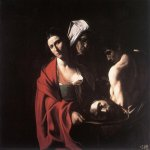 Michelangelo Merisi da Caravaggio, (1571  1610)  Salome with the Head of John the Baptist   Oil on canvas, c. 1609  116 cm &#215; 140 cm (46 in &#215; 55 in)  Palacio Real de Madrid, Spain