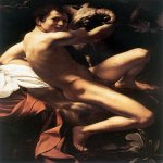 Michelangelo Merisi da Caravaggio, (1571 � 1610)  John the Baptist (Youth with a Ram)  Oil on canvas, 	1602  129 cm x 94 cm (51 in x 37 in)  Doria Pamphilj Gallery, Rome, Italy