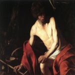 Michelangelo Merisi da Caravaggio, (1571 – 1610)  John the Baptist (John in the Wilderness)  Oil on canvas, 	c. 1604  94 cm × 131 cm (37 in × 52 in)  Galleria Nazionale d'Arte Antica, Rome, Italy