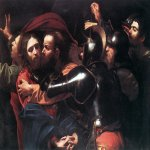 Michelangelo Merisi da Caravaggio, (1571  1610)  The Taking of Christ  Oil on canvas, c. 1602  133.5 cm &#215; 169.5 cm (52.6 in &#215; 66.7 in)  National Gallery of Ireland, Dublin, Ireland