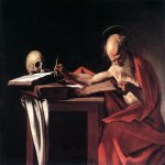 Michelangelo Merisi da Caravaggio, (1571 � 1610)  Saint Jerome Writing  Oil on canvas, 	c. 1605-1606  112 cm × 157 cm (44 in × 62 in)  Galleria Borghese, Rome, Italy