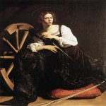 Michelangelo Merisi da Caravaggio, (1571  1610)  Saint Catherine of Alexandria  Oil on canvas, c. 1598  173 cm &#215; 133 cm (68 in &#215; 52 in)  Thyssen-Bornemisza Collection, Madrid, Spain
