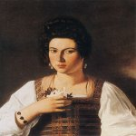 Michelangelo Merisi da Caravaggio, (1571 – 1610)  Portrait of a Courtesan (Fillide Melandroni)  Oil on canvas, c. 1597  66 cm × 53 cm (26 in × 21 in)  Destroyed