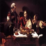 Michelangelo Merisi da Caravaggio, (1571 – 1610)  Supper at Emmaus  Oil on canvas, 1601  141 cm × 196,2 cm  National Gallery, London, United Kingdom