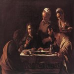 Michelangelo Merisi da Caravaggio, (1571 – 1610)  Supper at Emmaus  Oil on canvas, 1606  141 cm × 175 cm (56 in × 69 in)  Pinacoteca di Brera, Milan, Italy