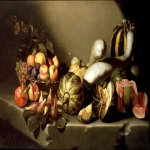 Michelangelo Merisi da Caravaggio, (1571 – 1610)  Still Life with Fruit  Oil on canvas, 1601-1605  105 cm × 84 cm (41 in × 33 in)  Currently on loan to the Denver Art Museum, Denver, Colorado, USA