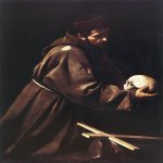 Michelangelo Merisi da Caravaggio, (1571 – 1610)  Saint Francis in Prayer   Oil on canvas, c. 1606  130 cm × 98 cm (51 in × 39 in)  Galleria Nazionale d'Arte Antica, Rome, Italy