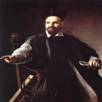 Michelangelo Merisi da Caravaggio, (1571  1610)  Portrait of Maffeo Barberini  Oil on canvas, c. 1598  124 cm &#215; 90 cm (49 in &#215; 35 in)  Private collection, Florence, Italy