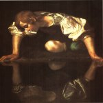 Michelangelo Merisi da Caravaggio, (1571  1610)  Narcissus  Oil on canvas, 1597-1599  110 cm &#215; 92 cm (43 in &#215; 36 in)  Galleria Nazionale d'Arte Antica, Rome, Italy
