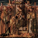 Carlo Crivelli (c. 1435 – c. 1495)  Virgin and Child Enthroned with Saints  Poplar panel, 1488  191 x 196 cm  Staatliche Museen, Berlin, Germany