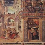 Carlo Crivelli (c. 1435 – c. 1495)  Annunciation with St Emidius  Oil on wood transferred to canvas, 1486  207 x 146,5 cm  National Gallery, London, UK