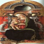 Carlo Crivelli (c. 1435 � c. 1495)  Madonna and Child Enthroned with a Donor  Panel, 1470  National Gallery of Art, Washington, USA