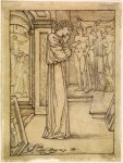 Edward Burne-Jones (Edward Burne Jones) (1833-1898)  Pygmalion and the Image - Study for Pygmalion in his Workshop  Pencil on tracing paper, 1867  118 mm x 89 mm  Birmingham Museums and Art Gallery, Birmingham, United Kingdom