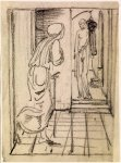Edward Burne-Jones (Edward Burne Jones) (1833-1898)  Pygmalion and the Image - Study for Pygmalion seeing the Image come to Life  Pencil on tracing paper, laid down, 1867  114 mm x 84 mm  Birmingham Museums and Art Gallery, Birmingham, United Kingdom