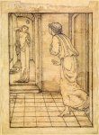 Edward Burne-Jones (Edward Burne Jones) (1833-1898)  Pygmalion and the Image - Study for Pygmalion seeing the Image come to Life  Pencil on tracing paper, 1867  117 mm x 86 mm  Birmingham Museums and Art Gallery, Birmingham, United Kingdom