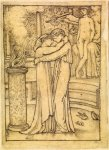 Edward Burne-Jones (Edward Burne Jones) (1833-1898)  Pygmalion and the Image - Study for Pygmalion and Galatea at the Altar of Hymen  Pencil on tracing paper, 1867  121 mm x 88 mm  Birmingham Museums and Art Gallery, Birmingham, United Kingdom