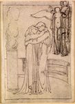 Edward Burne-Jones (Edward Burne Jones) (1833-1898)  Pygmalion and the Image - Study for Pygmalion and Galatea at the Altar of Hymen  Pencil on tracing paper, 1867  119 mm x 87 mm  Birmingham Museums and Art Gallery, Birmingham, United Kingdom