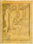 Edward Burne-Jones (Edward Burne Jones) (1833-1898)  Pygmalion and the Image - Study for Pygmalion playing the Organ  Pencil on tracing paper, laid down on card, 1867  125 mm x 95 mm  Birmingham Museums and Art Gallery, Birmingham, United Kingdom
