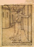 Edward Burne-Jones (Edward Burne Jones) (1833-1898)  Pygmalion and the Image - Study for Pygmalion returns to his House  Pencil on tracing paper, 1867  113 mm x 87 mm  Birmingham Museums and Art Gallery, Birmingham, United Kingdom