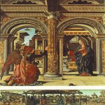 Francesco del Cossa (c. 1430 – c. 1477)  Annunciation and Nativity (Altarpiece of Observation)  Tempera on panel, 1470  137 x 113 cm, and 26,5 x 114,5 cm  Gemäldegalerie, Dresden