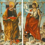 Francesco del Cossa (c. 1430 – c. 1477)  Griffoni Polyptych: St Peter and St John the Baptist  Oil on panel, 1473  112 x 55 cm (each)  Pinacoteca di Brera, Milan, Italy