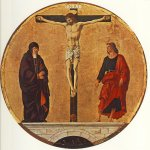 Francesco del Cossa (c. 1430 – c. 1477)  Griffoni Polyptych: The Crucifixion  Tempera on panel, 1473  diameter 63 cm  National Gallery of Art, Washington, USA