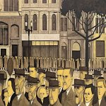 John Brack (1920 - 1999)  Collins St., 5 pm  Oil on canvas, 1955  114.6 cm × 162.9 cm (45.1 in × 64.1 in)  National Gallery of Victoria, Melbourne,  Victoria, Australia