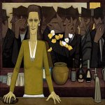 John Brack (1920 - 1999)  The bar  Oil on canvas, 1954  96.4 cm × 140.0 cm (38.0 in × 55.1 in)  National Gallery of Victoria, Melbourne,  Victoria, Australia