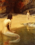 "John Collier (1850-1934) The Land Baby Oil on canvas, 1909 112.4 x 142.2 cm (3\' 8¼"" x 4\' 7.98\"") Private collection"