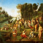 Lorenzo Costa (1459-1535)  The Garden Of The Peaceful Arts  Oil on panel  65 x 78 inches (165.10 x 198.12 cm)  Private collection