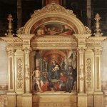 Lorenzo Costa (1459-1535)  Madonna and Saints  Panel, 1492  Private collection