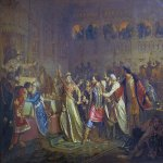 Pavel Petrovich Chistyakov (1832 - 1919)  At the wedding of Vasilii the Dark Sofia Vitovtovna pulls the belt Prince Vasilii Kosoi  Oil on canvas, 1861   The State Russian Museum, St. Petersburg, Russia