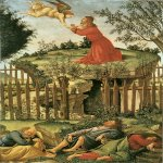 Sandro Botticelli (Alessandro di Mariano di Vanni Filipepi) (1445 – 1510)  Agony in the Garden  Tempera on panel, about 1500  53 x 35 cm  Museo de la Capilla Real, Granada, Andalusia, Spain