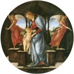 Sandro Botticelli (Alessandro di Mariano di Vanni Filipepi) (1445 – 1510)  Virgin and Child with Two Angels  Oil and tempera on panel, about 1493  diameter: 34 cm  Art Institute, Max and Leola Epstein Collection, Chicago, USA