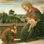 Sandro Botticelli (Alessandro di Mariano di Vanni Filipepi) (1445 – 1510)  Virgin and Child with St John the Baptist  Tempera on panel, about 1491-1493  47.65 x 38.1 cm  Tokyo, Ishizuka Collection