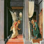 Sandro Botticelli (Alessandro di Mariano di Vanni Filipepi) (1445 – 1510)  Annunciation  Tempera on panel, about 1490-1493  24.3 x 36.8 cm  Metropolitan Museum of Art, New York, USA