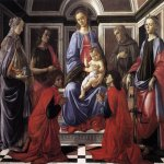 Sandro Botticelli (Alessandro di Mariano di Vanni Filipepi) (1445 – 1510)  Madonna and Child with Six Saints (Sant'Ambrogio Altarpiece)  Tempera on panel, c.1470  170 x 194 cm  Galleria degli Uffizi, Florence, Italy