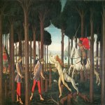 Sandro Botticelli (Alessandro di Mariano di Vanni Filipepi) (1445 – 1510)  Story of Nastagio degli Onesti: First Episodes  Tempera on panel, 1482-1483  83 x 138 cm  Museo del Prado, Madrid, Spain