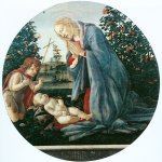 Sandro Botticelli (Alessandro di Mariano di Vanni Filipepi) (1445 – 1510)  Virgin Adoring the Child  Tempera on panel, about 1477  diameter: 96 cm  Museo Civico, Piacenza, Italy