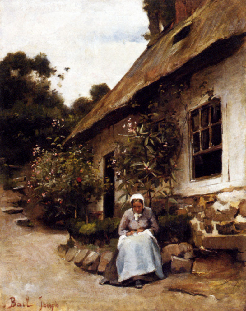 Claude Joseph Bail (1862-1921)  Woman Sewing In Front Of Her Cottage  Oil on panel  12 3/4 x 16 1/8 inches (32.5 x 41 cm)  Public collection