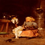 Claude Joseph Bail (1862-1921)  La Petite Fille Au Chaudron [The Little Girl with the Cauldron]  Oil on canvas  47 3/4 x 25 5/8 inches (121.3 x 65.4 cm)  Private collection