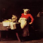 Claude Joseph Bail (1862-1921)  The Cook and the Pug  Oil on canvas  22 3/4 x 14 3/8 inches (57.8 x 36.8 cm)  Private collection