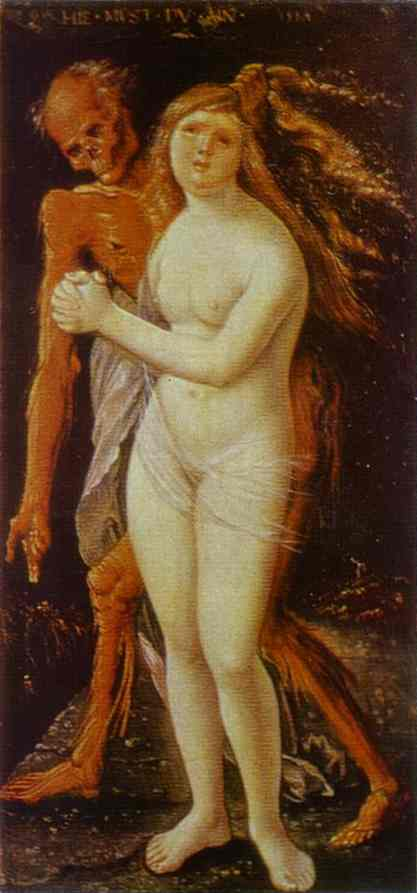 Hans Baldung (1484-1545)  Girl and Death.  Tempera on wood, 1517.   Kunstmuseum Basel, Basel, Switzerland.