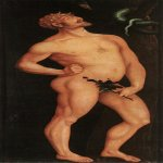 Hans Baldung (1484-1545)  Adam  Oil on wood, 1524  81 7/8 x 32 3/4 inches (208 x 83.5 cm)  Museum of Fine Arts, Budapest