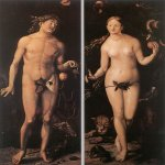 Hans Baldung (1484-1545)  Adam and Eve  Oil on wood  83 3/8 x 33 3/8 inches (212 x 85 cm)  Galleria degli Uffizi, Florence