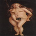 Hans Baldung (1484-1545)  Eve  Oil on wood, 1524  81 7/8 x 32 3/4 inches (208 x 83.5 cm)  Museum of Fine Arts, Budapest